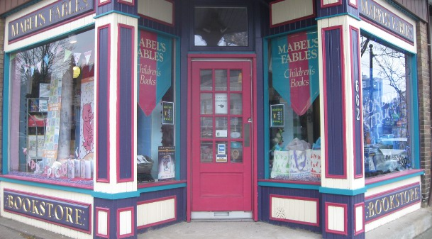 Mabel's Fables exterior, kids' bookstore in Toronto, holiday shopping,